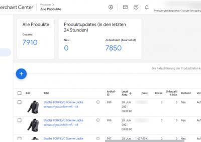 Google Merchant Center Produkte Übersicht