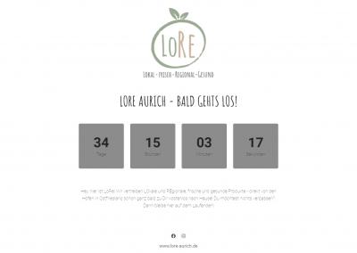 Coming Soon Seite der Website lore-aurich.de mit Countdown
