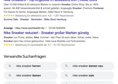 Die Google SERPS mit einem Ausschnitt von Ads Anzeigen