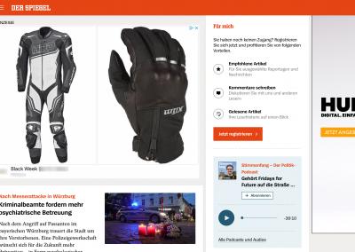 Screenshot einer Website auf der Google Display Remarketing Anzeigen ausgespielt werden