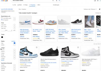 Hier ist ein Screenshot von Google Shopping Anzeigen zu sehen