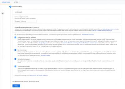 Erstellung eines Google Analytics Konto