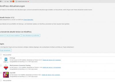Verfügbaren Updates für WordPress auf der WordPress-Aktualisierungen Seite